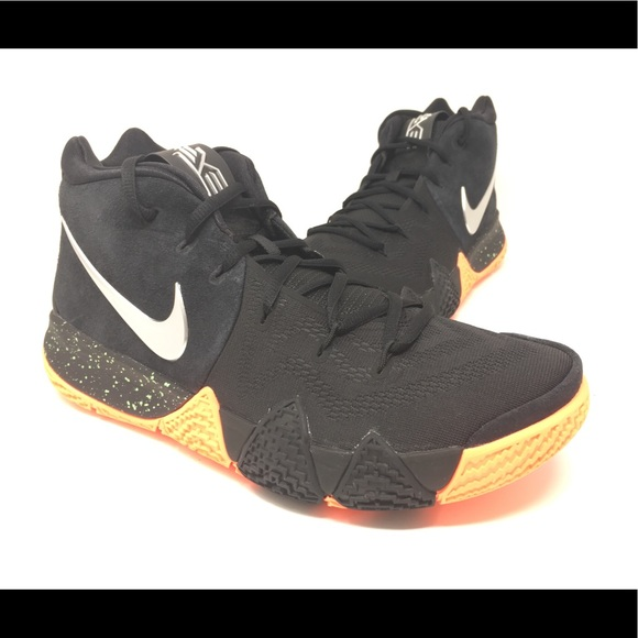 designer fashion e61bc 7ccba Nike Kyrie 4 Black Silver Basketball Shoes New NWT